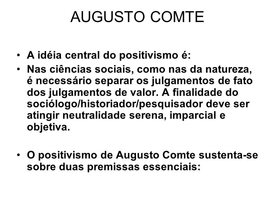AUGUSTO COMTE A idéia central do positivismo é: