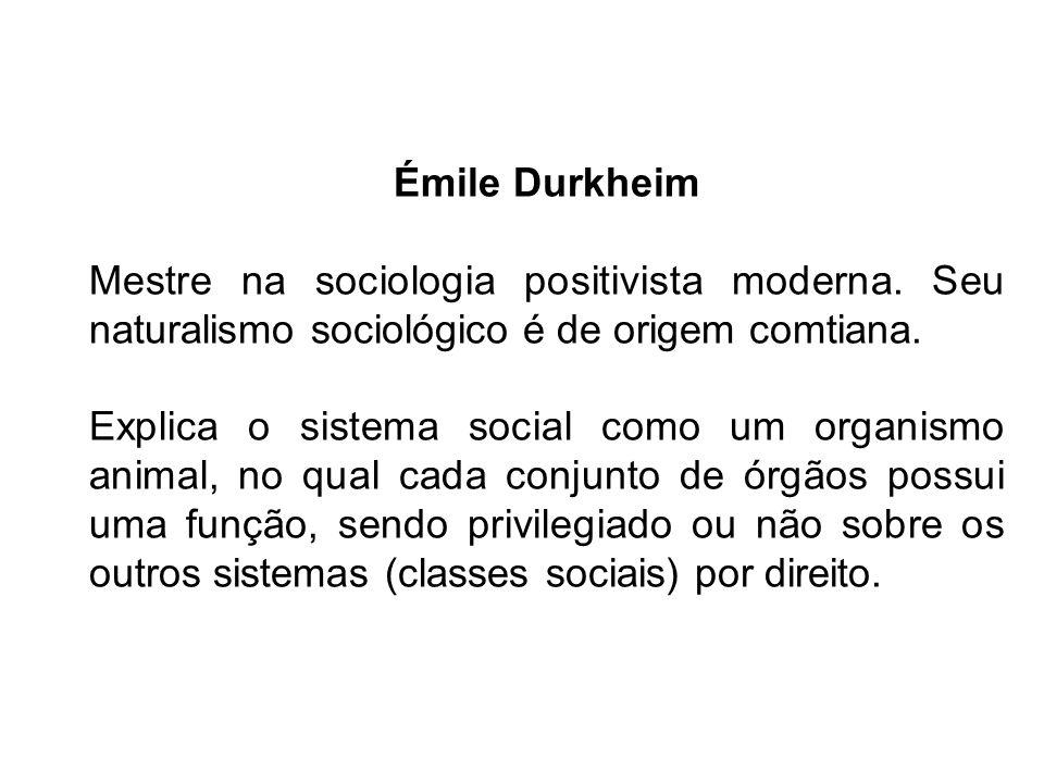 Émile DurkheimMestre na sociologia positivista moderna. Seu naturalismo sociológico é de origem comtiana.