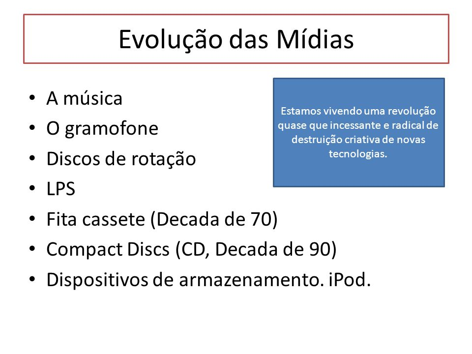 Evolução das Mídias A música O gramofone Discos de rotação LPS