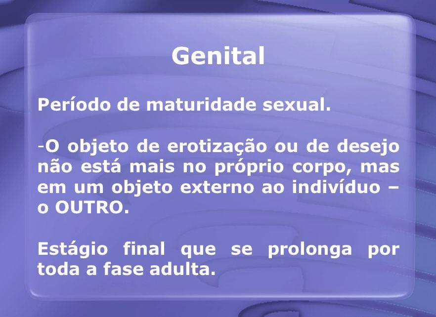 Genital Período de maturidade sexual.