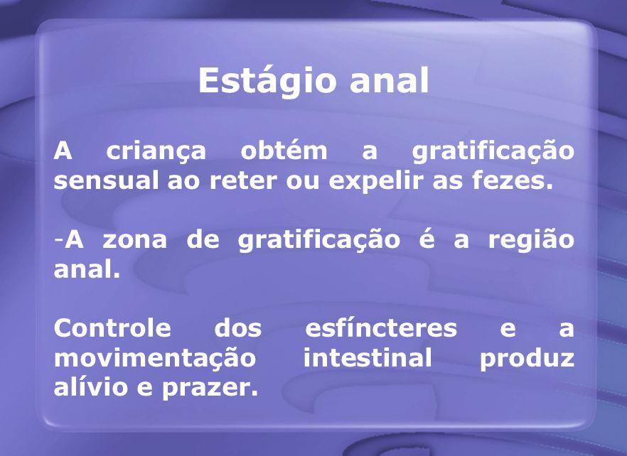 Estágio anal A criança obtém a gratificação sensual ao reter ou expelir as fezes. A zona de gratificação é a região anal.