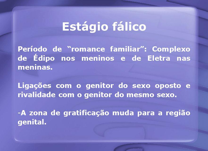 Estágio fálico Período de romance familiar : Complexo de Édipo nos meninos e de Eletra nas meninas.
