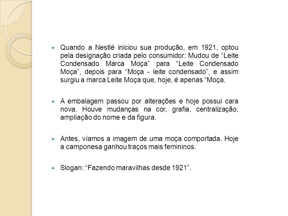 Quando a Nestlé iniciou sua produção, em 1921, optou pela designação criada pelo consumidor: Mudou de Leite Condensado Marca Moça para Leite Condensado Moça , depois para Moça - leite condensado , e assim surgiu a marca Leite Moça que, hoje, é apenas Moça.