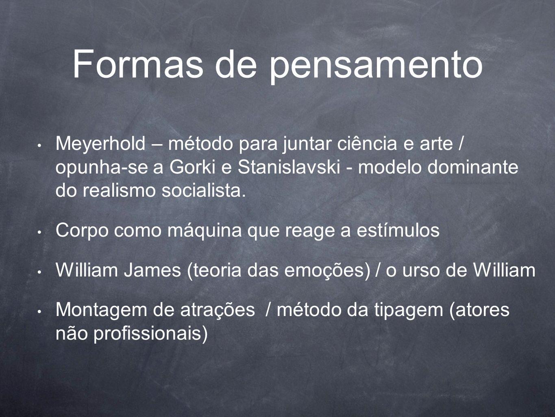 Formas de pensamento Meyerhold – método para juntar ciência e arte / opunha-se a Gorki e Stanislavski - modelo dominante do realismo socialista.