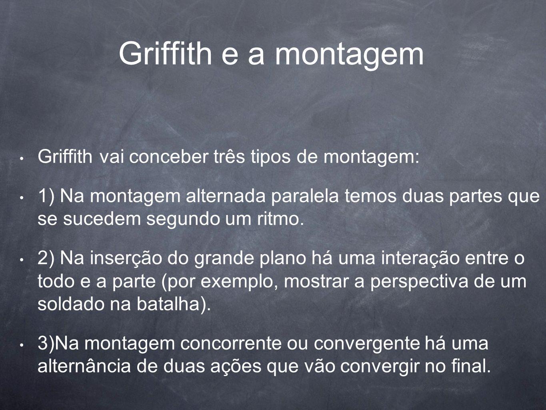 Griffith e a montagem Griffith vai conceber três tipos de montagem: