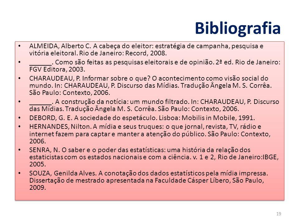 BibliografiaALMEIDA, Alberto C. A cabeça do eleitor: estratégia de campanha, pesquisa e vitória eleitoral. Rio de Janeiro: Record, 2008.