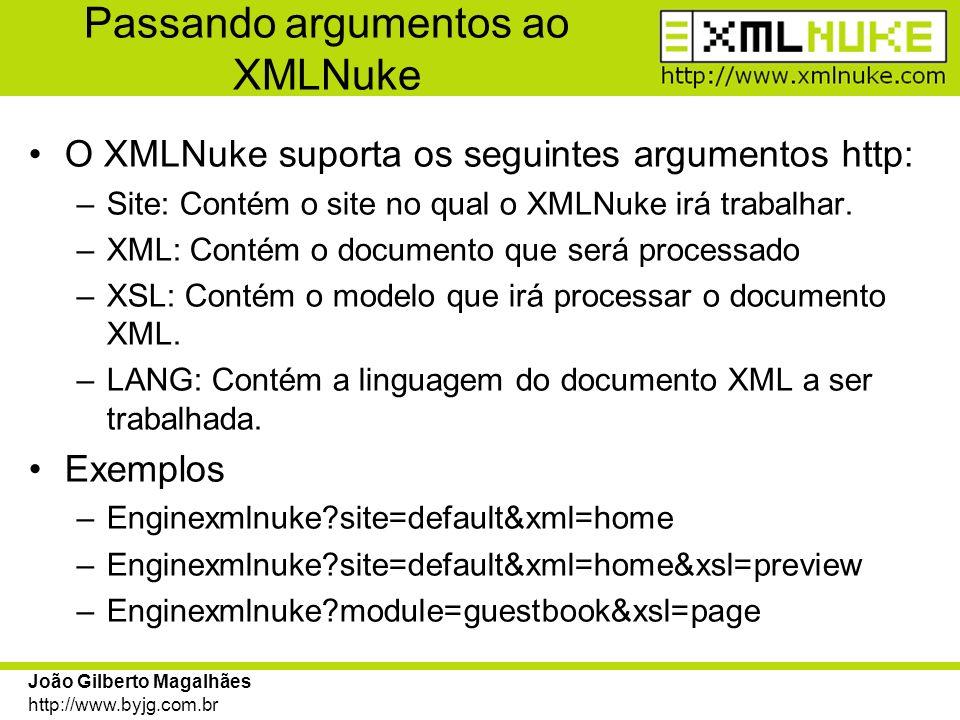 Passando argumentos ao XMLNuke
