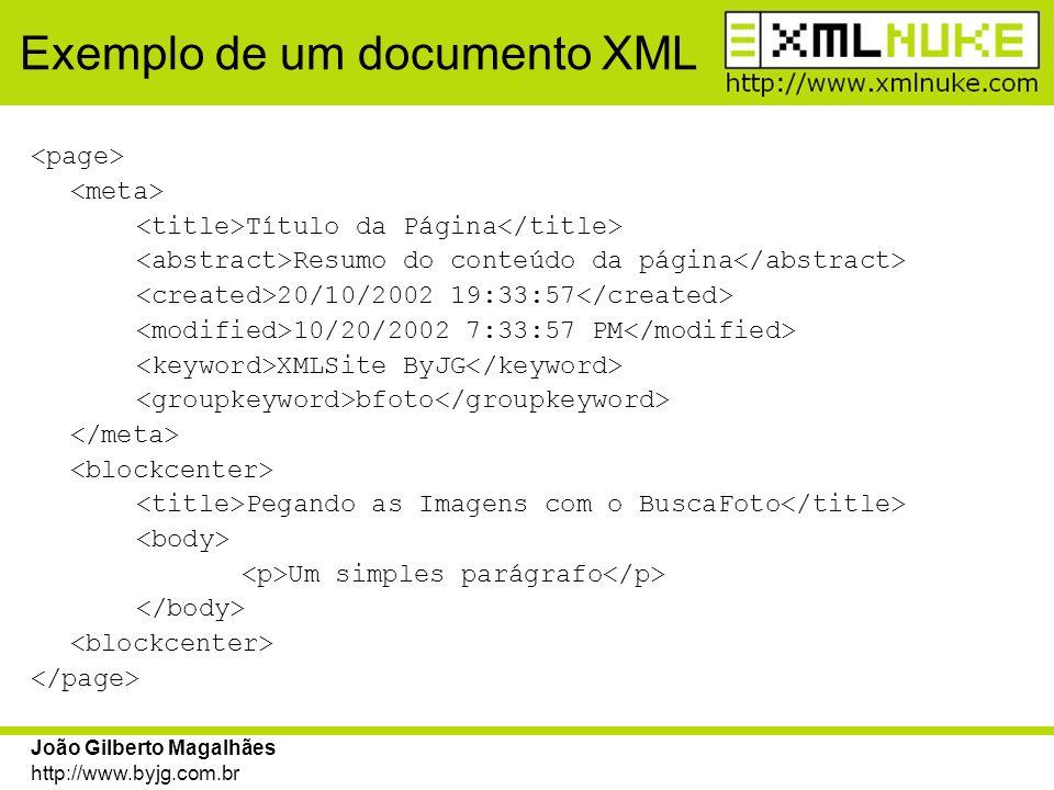 Exemplo de um documento XML