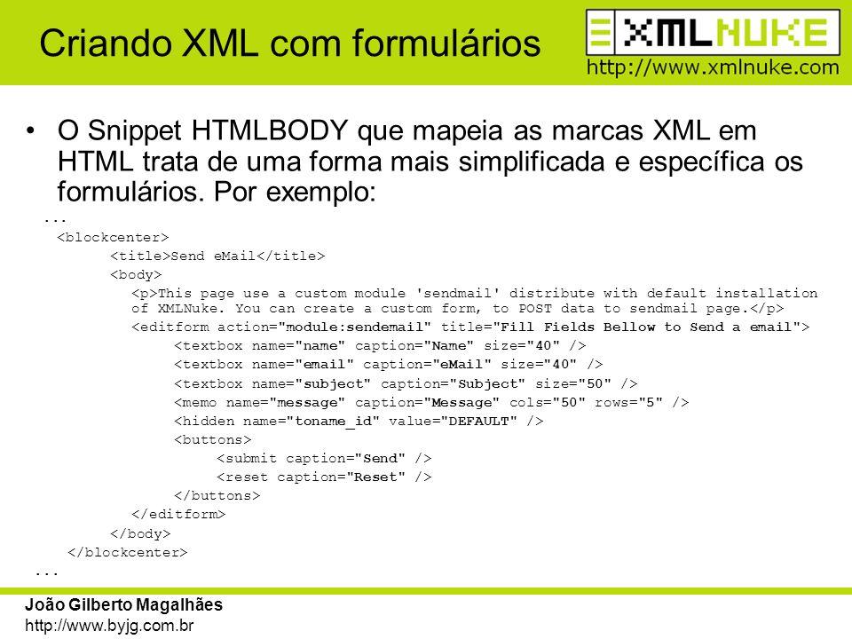 Criando XML com formulários