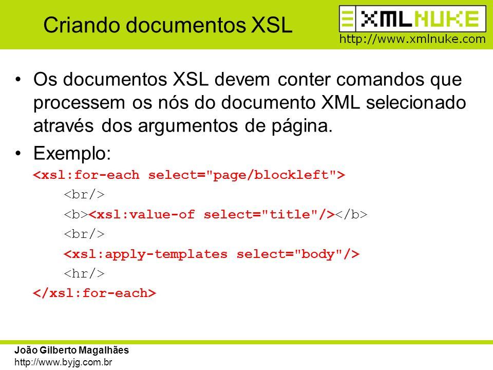 Criando documentos XSL