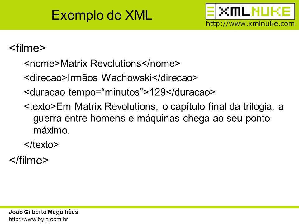 Exemplo de XML <filme> </filme>