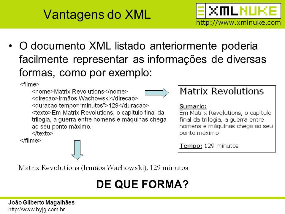 Vantagens do XML O documento XML listado anteriormente poderia facilmente representar as informações de diversas formas, como por exemplo: