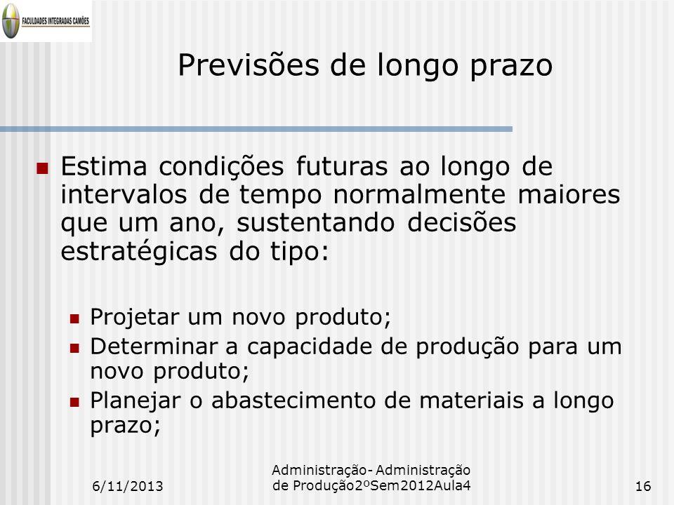 Previsões de longo prazo