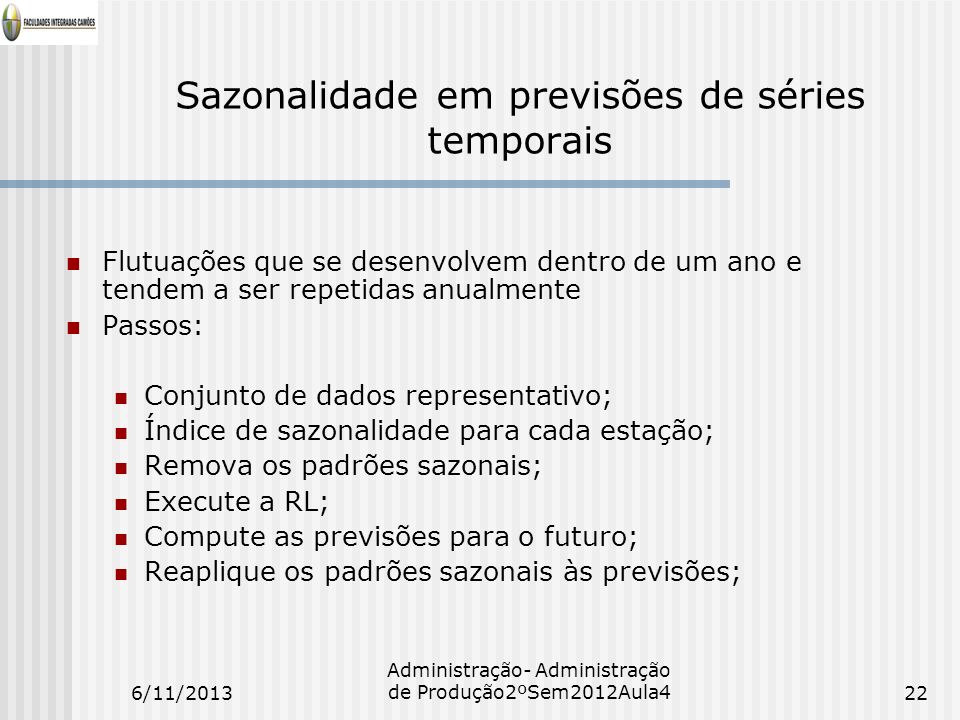 Sazonalidade em previsões de séries temporais