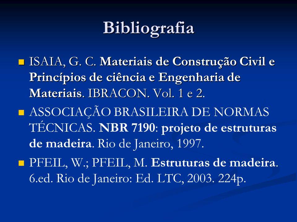 BibliografiaISAIA, G. C. Materiais de Construção Civil e Princípios de ciência e Engenharia de Materiais. IBRACON. Vol. 1 e 2.