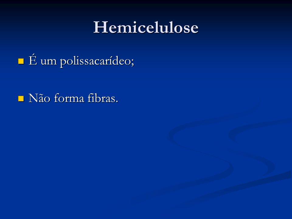 Hemicelulose É um polissacarídeo; Não forma fibras.