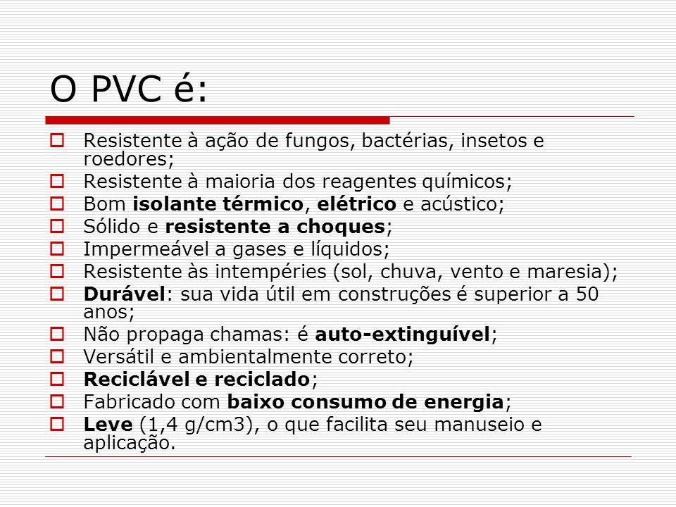 O PVC é: Resistente à ação de fungos, bactérias, insetos e roedores;