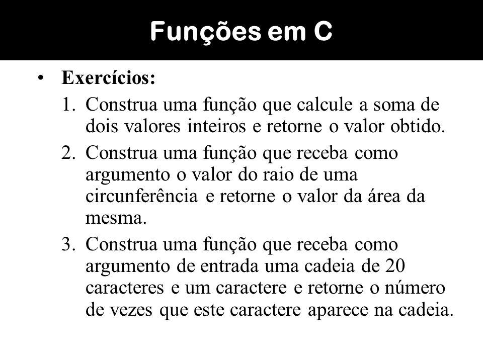 Funções em C Exercícios: