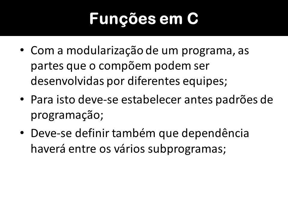 Funções em CCom a modularização de um programa, as partes que o compõem podem ser desenvolvidas por diferentes equipes;