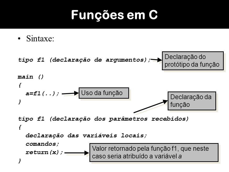Funções em C Sintaxe: tipo f1 (declaração de argumentos); main () {