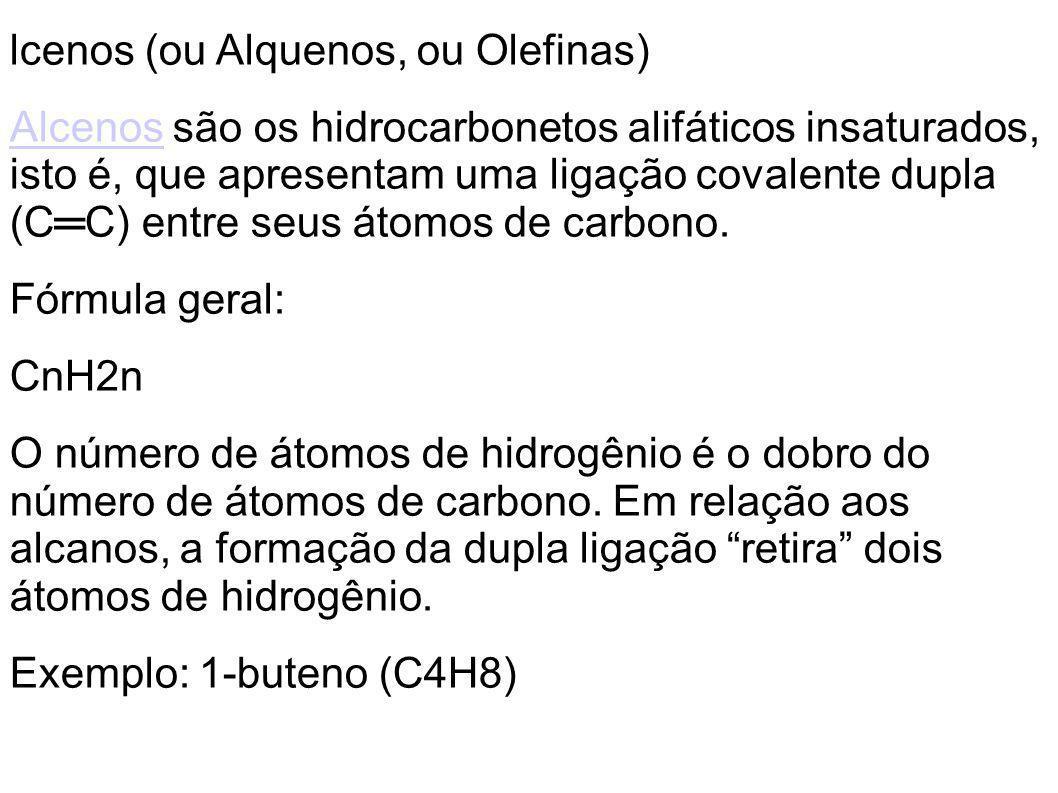 lcenos (ou Alquenos, ou Olefinas)