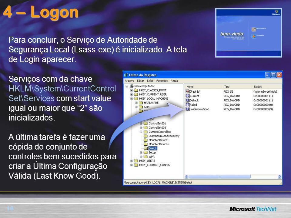 4 – Logon Para concluir, o Serviço de Autoridade de Segurança Local (Lsass.exe) é inicializado. A tela de Login aparecer.