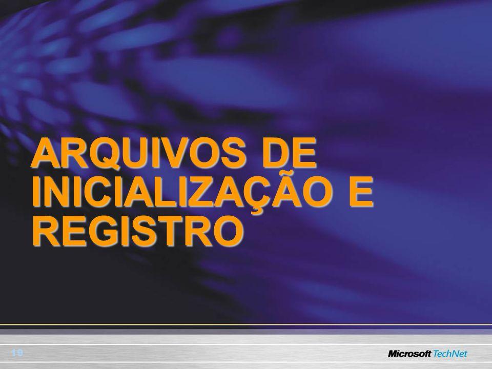 ARQUIVOS DE INICIALIZAÇÃO E REGISTRO