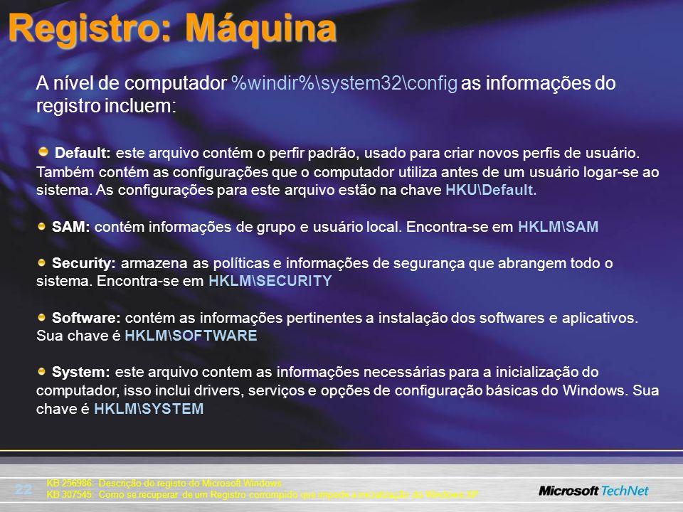 Registro: Máquina A nível de computador %windir%\system32\config as informações do registro incluem: