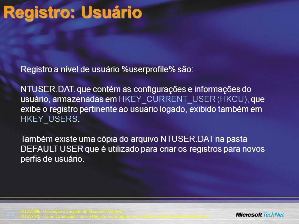 Registro: Usuário Registro a nível de usuário %userprofile% são: