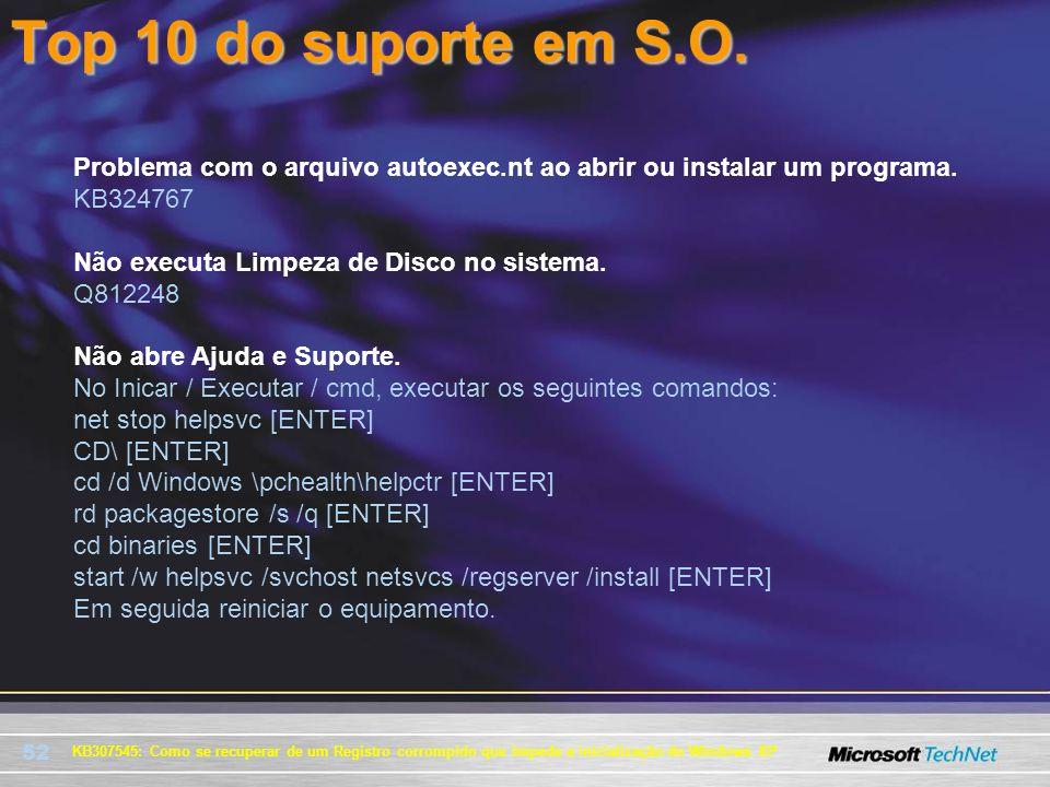 Top 10 do suporte em S.O. Problema com o arquivo autoexec.nt ao abrir ou instalar um programa. KB324767.