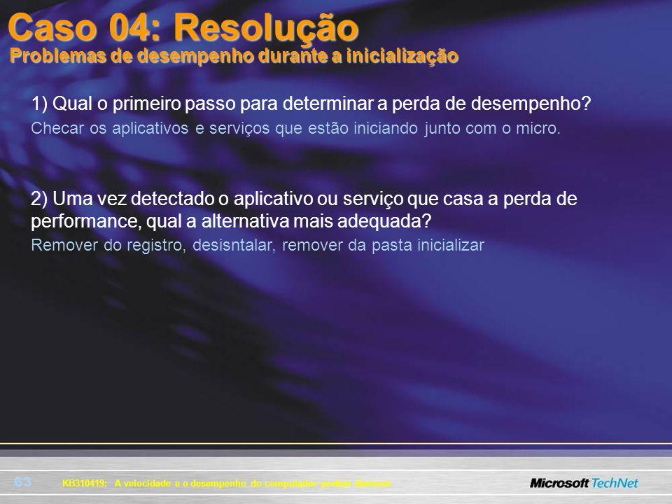 Caso 04: Resolução Problemas de desempenho durante a inicialização