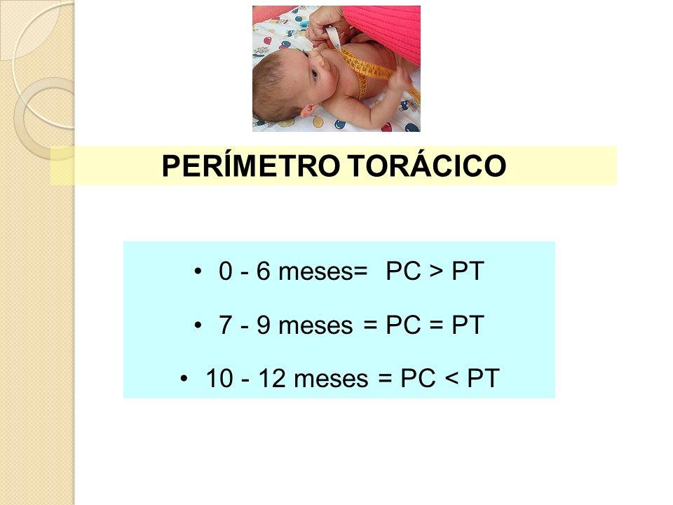 PERÍMETRO TORÁCICO 0 - 6 meses= PC > PT 7 - 9 meses = PC = PT