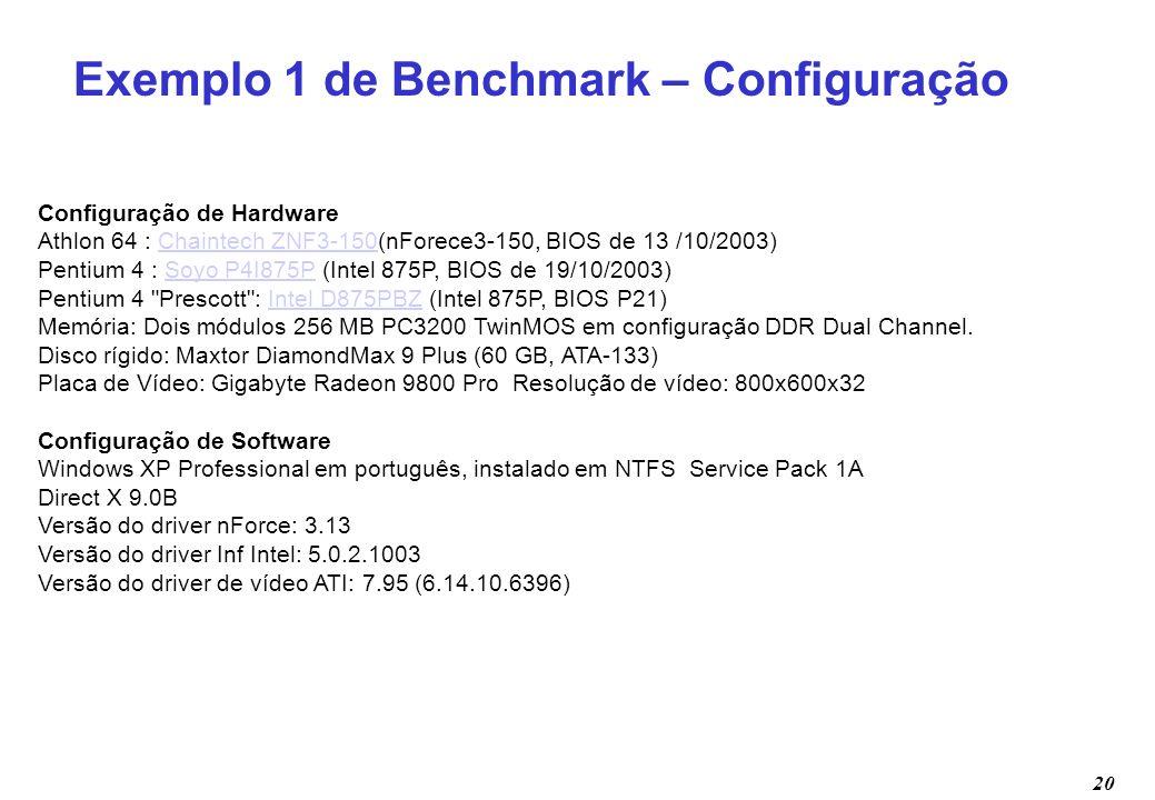 Exemplo 1 de Benchmark – Configuração
