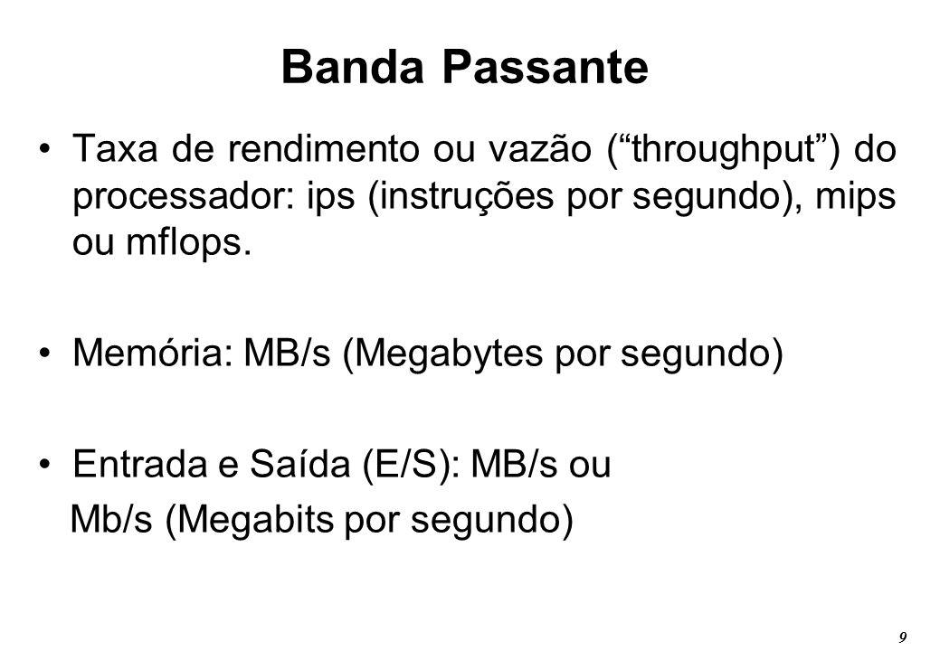 Banda Passante Taxa de rendimento ou vazão ( throughput ) do processador: ips (instruções por segundo), mips ou mflops.