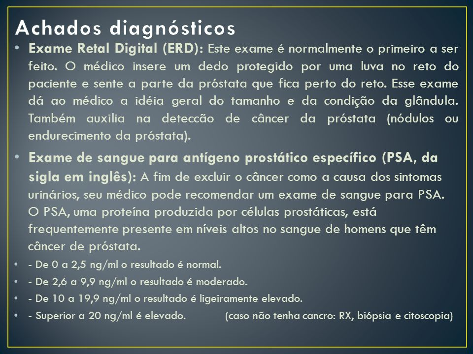 Achados diagnósticos