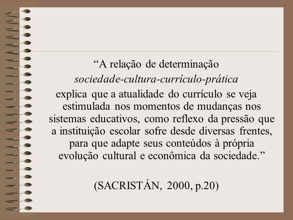 A relação de determinação sociedade-cultura-currículo-prática