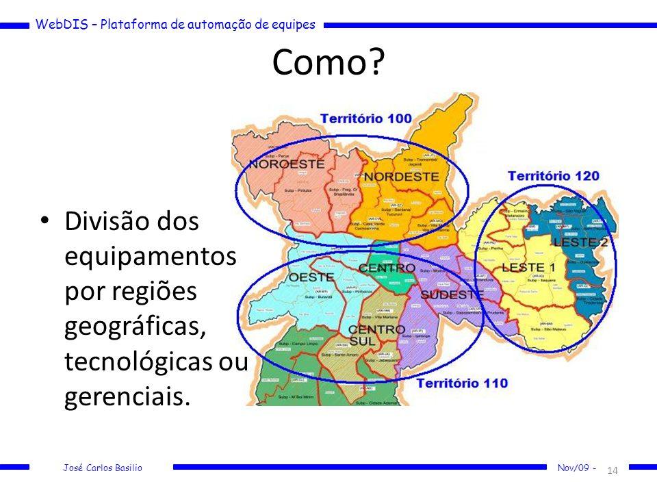 Como Divisão dos equipamentos por regiões geográficas, tecnológicas ou gerenciais.