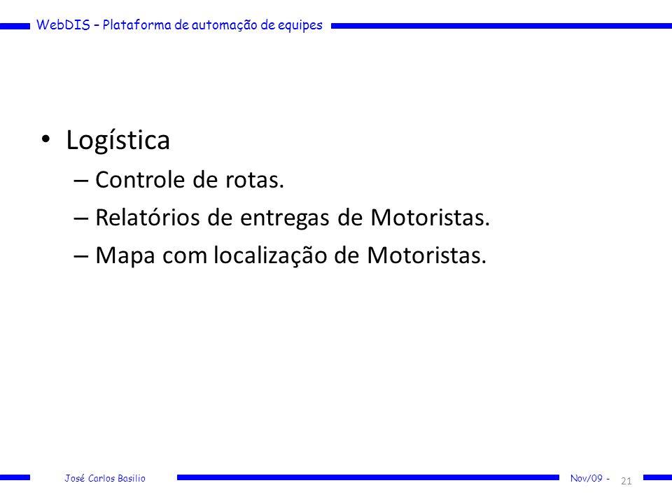 Logística Controle de rotas. Relatórios de entregas de Motoristas.