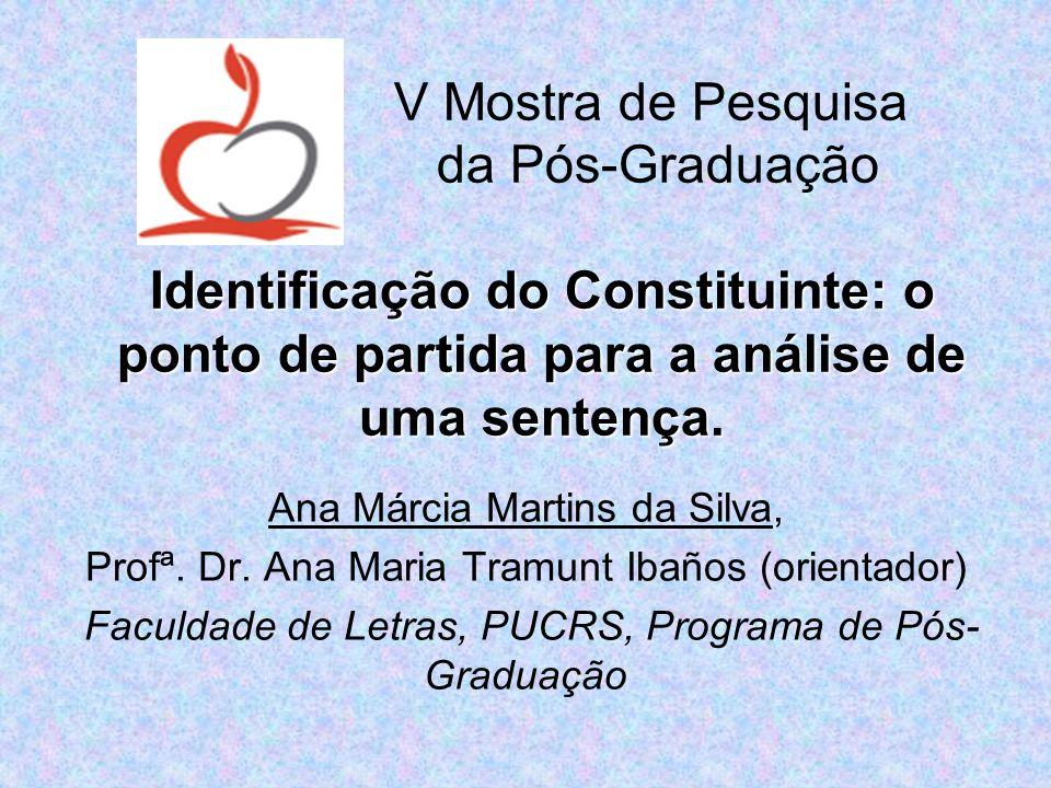 V Mostra de Pesquisa da Pós-Graduação Identificação do Constituinte: o ponto de partida para a análise de uma sentença.