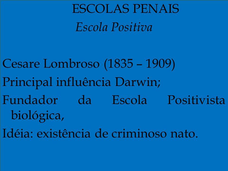 Principal influência Darwin; Fundador da Escola Positivista biológica,