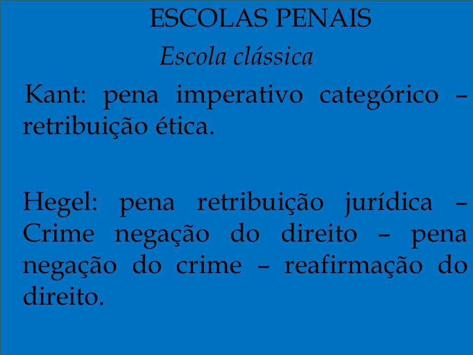 Kant: pena imperativo categórico – retribuição ética.