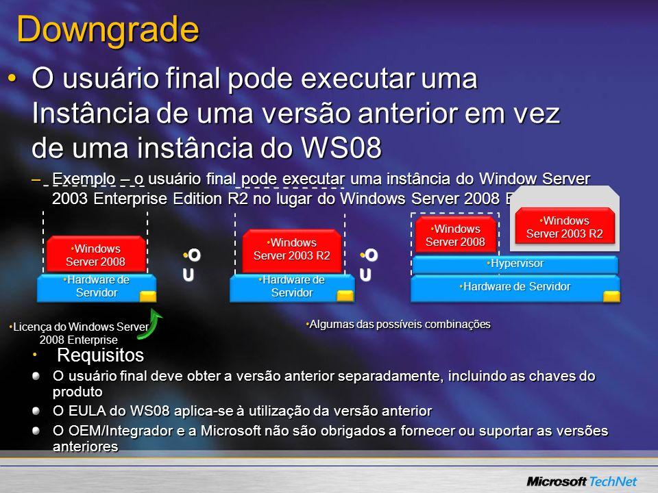 3/23/2017Downgrade. O usuário final pode executar uma Instância de uma versão anterior em vez de uma instância do WS08.
