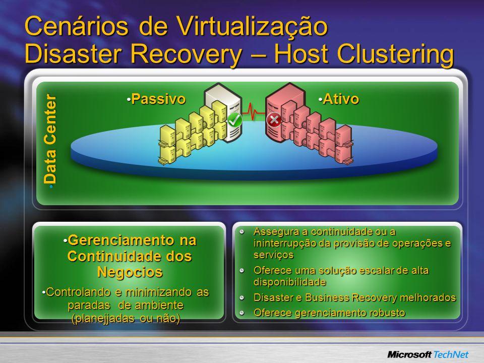Cenários de Virtualização Disaster Recovery – Host Clustering