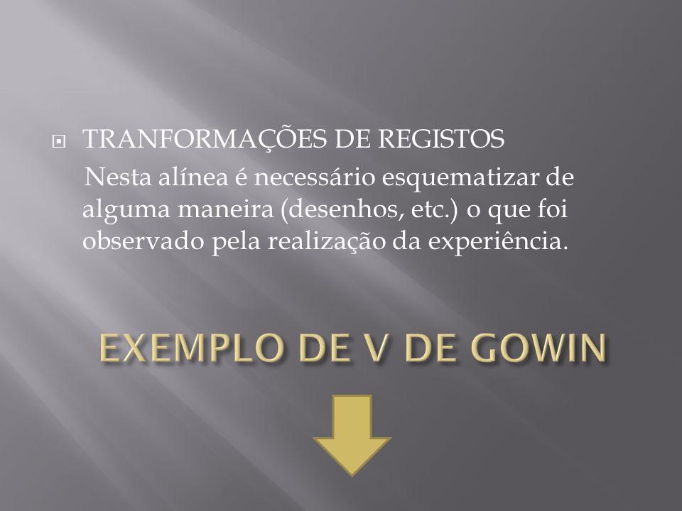 EXEMPLO DE V DE GOWIN TRANFORMAÇÕES DE REGISTOS