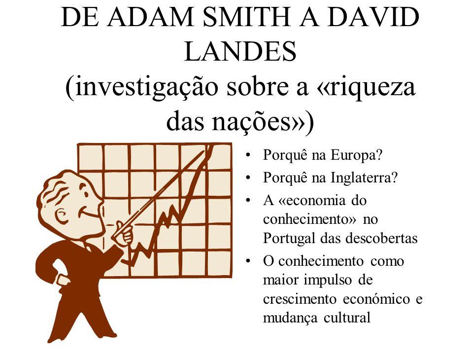 DE ADAM SMITH A DAVID LANDES (investigação sobre a «riqueza das nações»)