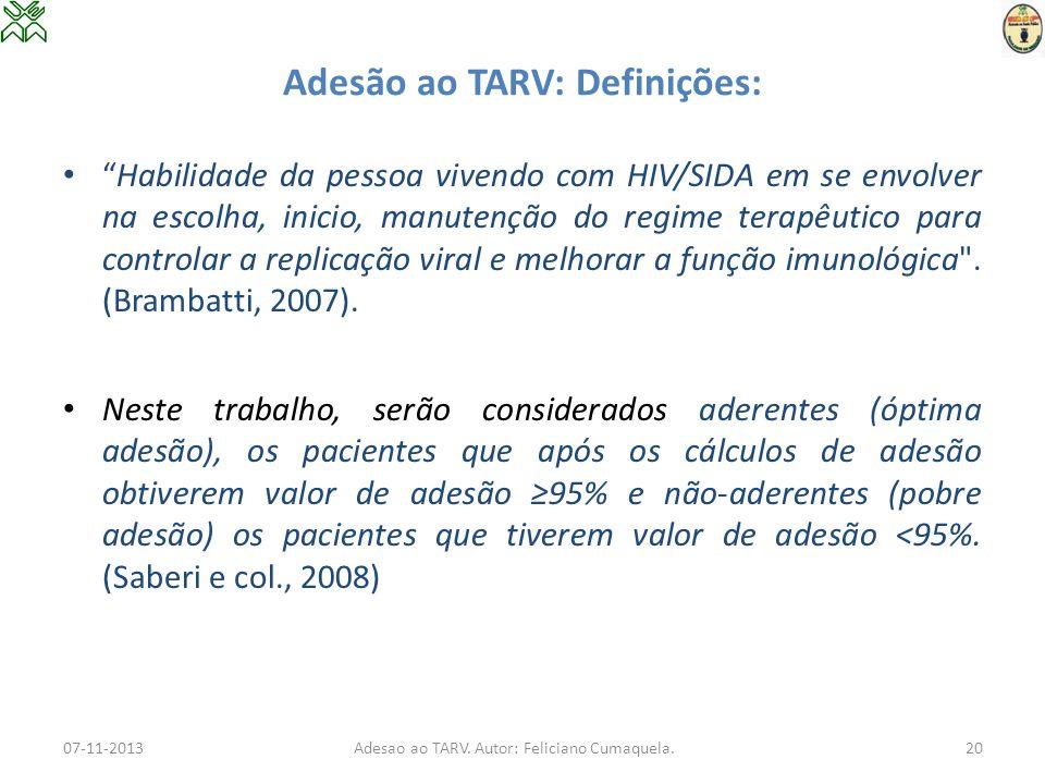 Adesão ao TARV: Definições: