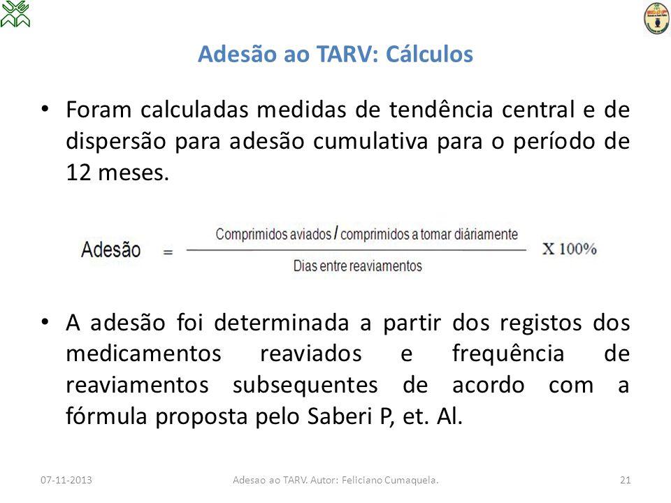 Adesão ao TARV: Cálculos