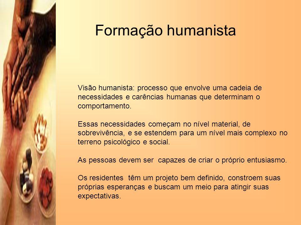 Formação humanista Visão humanista: processo que envolve uma cadeia de necessidades e carências humanas que determinam o comportamento.