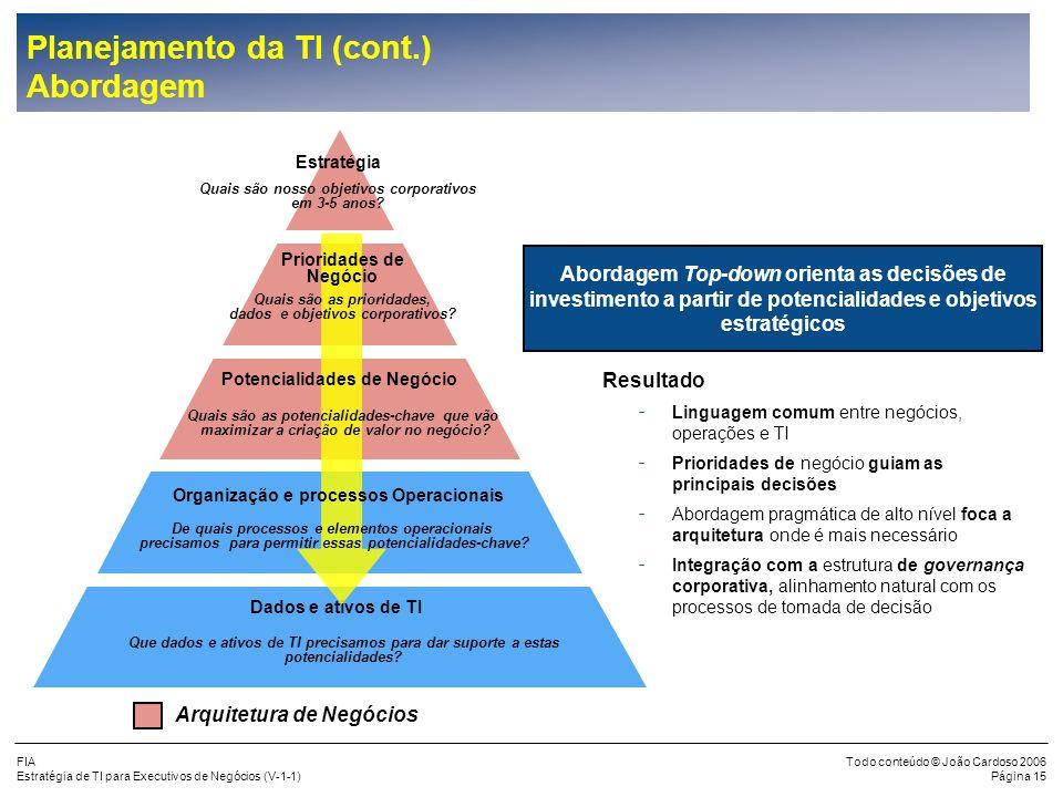Planejamento da TI (cont.) Abordagem