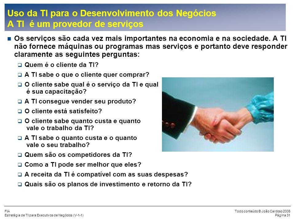 Uso da TI para o Desenvolvimento dos Negócios A TI é um provedor de serviços